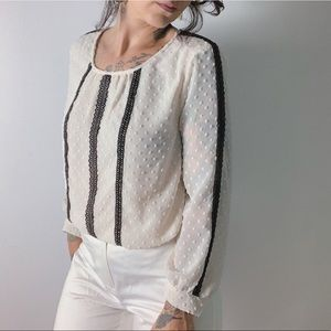 J. CREW Chiffon Dot Blouse with Lace Panels